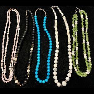 5 stone beaded necklaces rose quartz turquoise